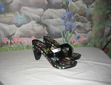 New VIS-A-VIE Black Patent Leather Painted Butterfly Platform Sandals 7.5