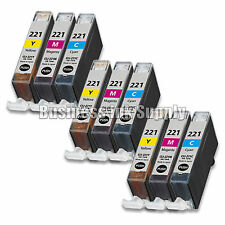 9 COLOR CLI-221CLI221 CLI 221 Ink Tank for Canon Printer Pixma iP3600 iP4600 NEW