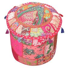 Indian Foot Stool Pouf Cover Patchwork Embroidered Pouffe Cover Round Cotton 18""