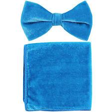 New in box formal men's pre tied Bow tie & Hankie Velvet Turquoise Blue