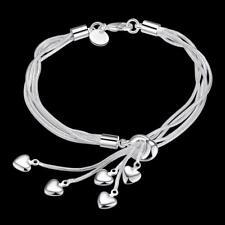 "Women's Fashion 925 Sterling Silver Bracelet Chain Love Charm Adjustable 7.8"""