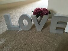 Shabby Vintage Chic Style Love Home Wooden Letters Freestanding Sign Grey