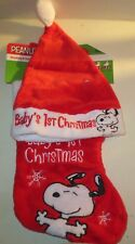 Snoopy Peanuts  Baby's First Christmas  Hat & Stocking Set Brand New