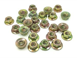 25 pcs 1/4-20 captured loose washer yellow zinc hex nuts