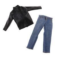 Giacca E Jeans Uomo In Pelle PU Nera In Scala 1/6 Per Action Figure Da 12 ''