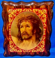 Vintage Religious Wall Art Jesus w/Tears on the Cross on Wood 10x12