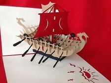 Beautiful and Fun 3D Pop Up Handmade Card for Boat Lovers, Father's day card!
