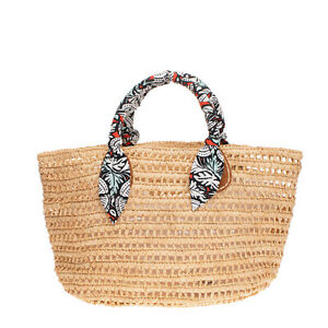 Weave Raffia Tote Beach Bag Large Patterned Twisted Two Handles Unlined