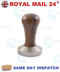 COMPETITION COFFEE TAMPER WALNUT WOODEN HANDLE STAINLESS STEEL 58.5MM FLAT BASE