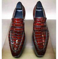 Handmade Men's Burgundy Maroon Crocodile Leather Slip Ons Loafer Shoes