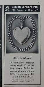1946 women's sterling silver heart bracelet Georg Jensen vintage jewelry ad