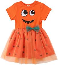 Baby Girl Halloween Clothes Pumpkin Short Sleeve Princess Dress Lace Tutu 5-6 T