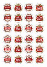 24 beer label stella artois cupcake plaquette riz comestibles fairy cake toppers