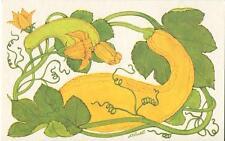 VINTAGE YELLOW CROOKNECK SQUASH BLOSSOMS VEGGIE RECIPE PRINT 1 TEA POT EGGS CARD