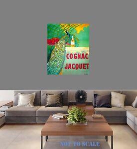 art painting vintage print canvas Framed  retro nouveau COGNAC JACQUET antique
