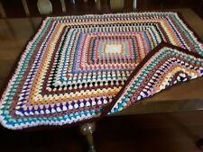 Large Handmade Crochet Throw/ Blanket multi colours burgundy edge