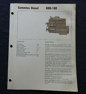 "1966 GENUINE CUMMINS ""NHD-180 DIESEL ENGINE"" SPECIFICATION BROCHURE"
