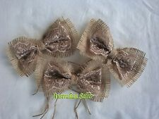 Burlap Hessian Wedding Cake Tin Jar Table Decoration Mini Bows - Rustic Lace x 3
