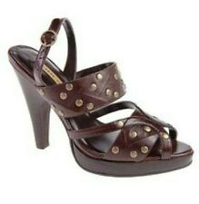 Chinese Laundry Suzane Sandal Brown Leather Stud Embellished Wooden Heels Peep