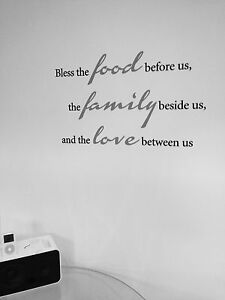 BLESS THE FOOD FAMILY BEFORE US WALL STICKER Art Vinyl Words Mural Kitchen