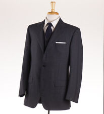 NWT $1895 CANTARELLI Gray-Sky Blue Stripe 3-Piece Wool Suit 40 R Classic-Fit