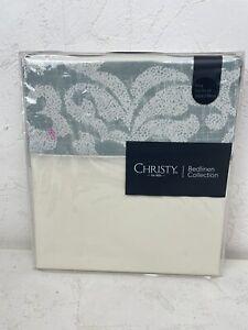 Christy Bedlinen 'Camelia' in Seafoam King Size Flat Sheet 260x270cm Cotton N693