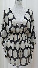 NEXT Black Beige POLKA DOT Cover UP Over BIKINI See Thru TOP UK 8 Petite 36 BNWT