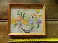 mj6 Vintage Framed By Boots embroidery flowers in vase picture ready to hang