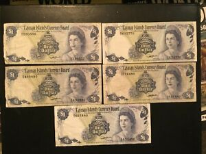 CAYMAN ISLANDS  (5 Notes)  1 Dollar  1974