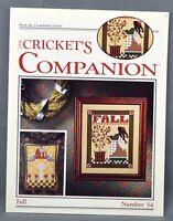 The Cricket's Companion FALL Cross Stitch Pattern #54 Leaflet Autumn Birds 1988