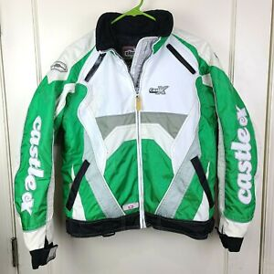 Castle X Women Snowmobile Racewear Rider Jacket Green White 3-in-1 Winter Size S