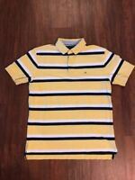 Tommy Hilfiger Mens Large Yellow Stripe Polo Shirt Short Sleeve