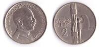 1926 Vittorio Emanuele III Buono Lire 2 Fascio Rara Nichelio Discreta