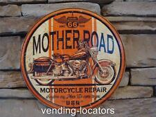 Mother Road Motorcycle Repair Route 66 Novelty Round Tin Sign Vintage Garage Ad