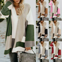 Women Long Cardigan Loose Sweater Long Sleeve Knitted Outwear Jacket Coat Jumper
