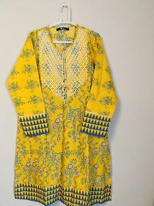 khaadi Print Embroidered Yellow kurta size 10, New Packed , ✅