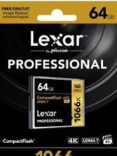 Nouveau Lexar 64 Go Professional Carte mémoire 1066x UDMA 7 COMPACT FLASH CF Pro VPG-65