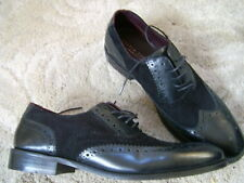 London Brogues handcrafted Mens Brogues Leather/Suede  black Shoes,UK 10-mod.ska