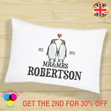 PERSONALISED Cushion Cover Pillow Case Penguin Mr & Mrs Love Gift for Couples