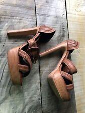 Originally $750 Size 7/37.5 Rupert Sanderson Cognac Leather Cross Stitch Sandals