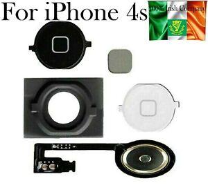 For iPhone 4s Home Menu Button Rubber Grommet Flex Cable Plus Gadget White Black