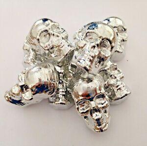 2.5 oz 999 skull tin. 999 hand poured tin bar skull. YOU GET 1 SKULL FROM PILE!