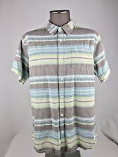 Lost Surf/skate S/S Button Front Shirt Mens SZ L Blue/gray Graphic