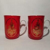 Vintage Otagiri Japan Christmas Coffee Cups Mugs Set of 2 Red Gold Tree Trim
