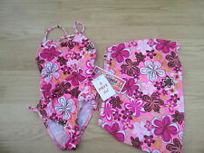 ST. TROPEZ Multi-Colored Floral Bathing Swim Suit & Skirt Cover-Up size 12 NWT