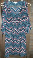 GLAM navy patterned cold shoulder tunic top women's size S