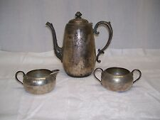 VTG W.M. ROGERS SILVERPLATE SILVER 101 COFFEE TEAPOT SUGAR & CREAMER SET 3 PC
