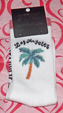 NEW on card Victoria's Secret Pink Crew Socks Los Angeles California Palm Tree