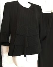 Armani Suit Black Pinstriped Jacket And Pant Flair Leg Size 8 (42)