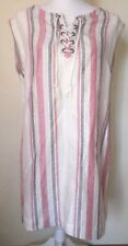 Cupcakes and Cashmere Reed Cap Sleeve Striped Linen Blend Dress Size Medium NWT